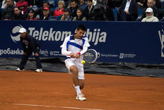 Player Novak Djokovic return a ball-1 Royalty Free Stock Photos