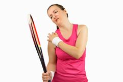 Player with pain in shoulder. Shot of a tennis player with a shoulder injured isolated over white background royalty free stock photos