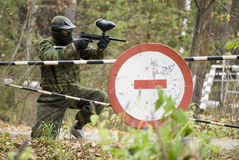 Player in paintball Stock Images