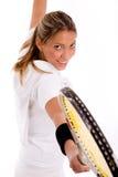 player racket side smiling tennis view Στοκ φωτογραφίες με δικαίωμα ελεύθερης χρήσης