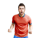Player on red and blue uniform celebrating Royalty Free Stock Photo