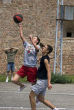Player shoots to the ball Royalty Free Stock Images