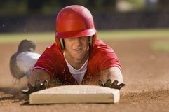Player Sliding Towards Base Royalty Free Stock Photo