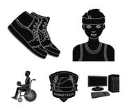 Player, sneakers, team emblem, basketball player disabled. Basketball set collection icons in black style vector symbol Stock Photography
