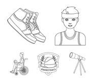 Player, sneakers, team emblem, basketball player disabled. Basketball set collection icons in outline style vector Stock Photography