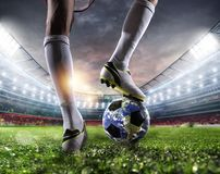 Player with a soccer ball a as world. Earth provided by NASA. royalty free stock photos