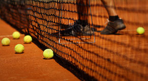 Player on tennis court Stock Photo