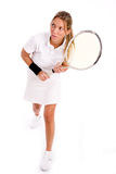 Player with tennis racket looking aside Stock Photos