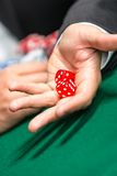 Player throws dices on the table Stock Images