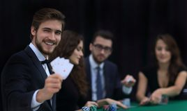 Player to the casino with a combination of four aces. The concept of fortune Royalty Free Stock Images