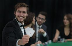 Player to the casino with a combination of four aces. The concept of fortune Royalty Free Stock Photo