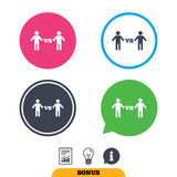 Player vs player sign icon. Games symbol. Player vs player sign icon. Games human symbol. Report document, information sign and light bulb icons. Vector Stock Photography