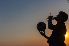 Player Water Drink Football Silhouette Royalty Free Stock Photography