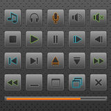 Player web buttons and music controls icons, set. Royalty Free Stock Photography