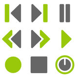 Player Web Icons, Green Grey Solid Icons Royalty Free Stock Images