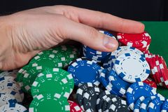 Player wins the hand bank takes all chips Stock Photos
