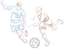 Players. Isolated brush stroke line players art work Royalty Free Stock Images