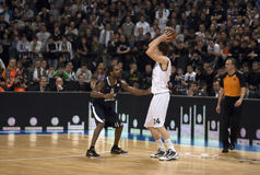 Players in action during a basketball match-1 Royalty Free Stock Photos