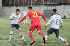 Players in action at European Championship Qualifying match match between Andorra vs France , final score AND 0 - 4 FRA. Andorra La vella, Andorra - June 11 2019 royalty free stock photo