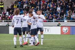 Players in action at European Championship Qualifying match match between Andorra vs France , final score AND 0 - 4 FRA. Andorra La vella, Andorra - June 11 2019 royalty free stock photography