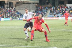 Players in action at European Championship Qualifying match match between Andorra vs France , final score AND 0 - 4 FRA. Andorra La vella, Andorra - June 11 2019 stock photo