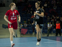 Players in action at a handball match royalty free stock images