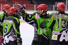 Players in action in the Ice Hockey final of the Copa del Rey Royalty Free Stock Image