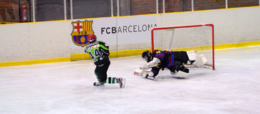 Players in action in the Ice Hockey final of the Copa del Rey Royalty Free Stock Photos