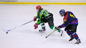 Players in action in the Ice Hockey final of the Copa del Rey Royalty Free Stock Photography