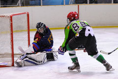 Players in action in the Ice Hockey final of the Copa del Rey (Spanish Cup) Royalty Free Stock Images