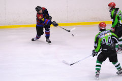 Players in action in the Ice Hockey final of the Copa del Rey (Spanish Cup) between F.C. Barcelona and Jabac Terrassa Royalty Free Stock Photography