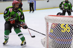 Players in action in the Ice Hockey final of the Copa del Rey (Spanish Cup) between F.C. Barcelona and Jabac Terrassa teams Royalty Free Stock Photos