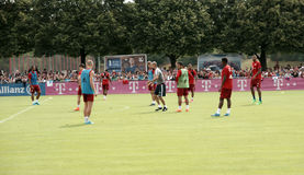 Players of Bayern Muenchen at a training session of their team. Royalty Free Stock Photography