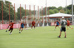 Players of Bayern Muenchen at a training session of their team. Stock Images
