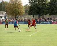 Players of Bayern Muenchen at a training session of their team. Royalty Free Stock Image