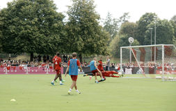 Players of Bayern Muenchen at a training session of their team. Royalty Free Stock Photo