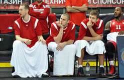 Players of BC Spartak watching the game Royalty Free Stock Image