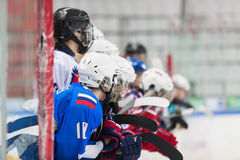 Players can not wait to go on the ice. Royalty Free Stock Photos