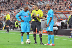 Players communicate with the referee Stock Image