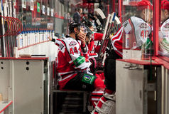Players of Donbass (Donetsk). Donetsk SEPTEMBER 6: Ice hockey, the game of Ukraine and Slovakia Royalty Free Stock Image
