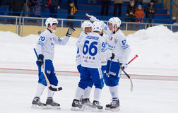 Players of Dynamo rejoice to the hammered goal Stock Images