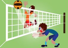 Volleyball players on the game vector illustration