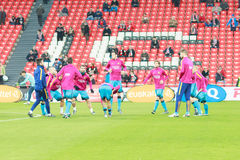 The players of FC Barcelona moments before the match Royalty Free Stock Photography