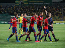 Players of FC CSKA arguing with the referee Royalty Free Stock Image