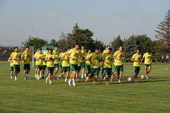 Players FC Kuban make a run at the open workout for fans Stock Photos