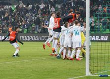 Players of FC Real celebrate the victory in the match against FC Krasnodar in the Junior League of Europe Stock Photo