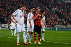 Players of FC Shakhtar (Donetsk) and FC Bayer (Leverkusen) Royalty Free Stock Photography