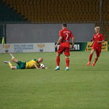 Players of fc ufa violated rules against a player of fc kuban Vladislav Ignatiev Royalty Free Stock Image