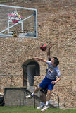 Players in fight for ball Royalty Free Stock Photography
