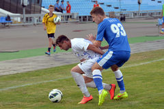 Players fighting for the ball Stock Images
